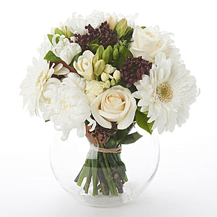 White Posy in Glass Bubble