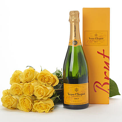 Yellow Flowers N Veuve Clicquot Gift Hamper