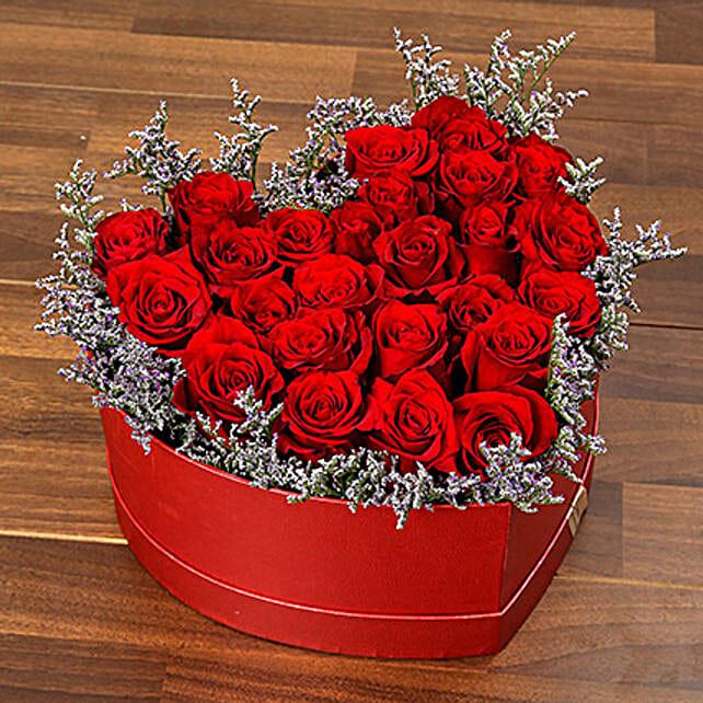 Red Roses In Heart Shape Box OM