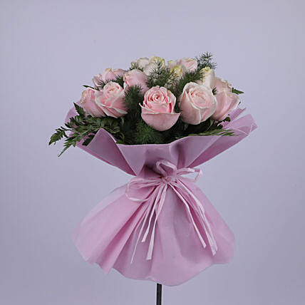 Elegant Bouquet Of Light Pink Roses:Send Thank You Gifts to Oman