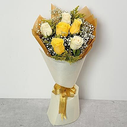 White and Yellow Roses Bouquet OM