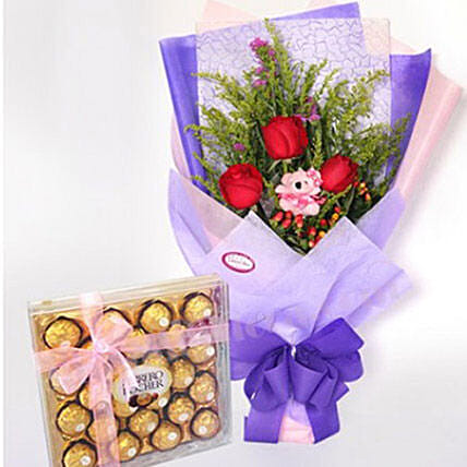 Cute Small Teddy With Roses And Chocolates:Flowers for Birthday