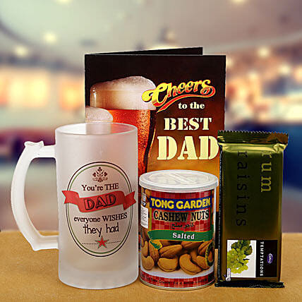 Best dad combo of chocolate, salted cashew, mug and greeting card