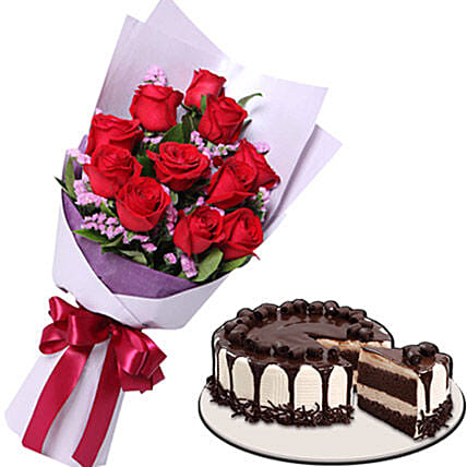 Heavenly Cake And Rose Combo:Send Birthday Cakes to Philippines