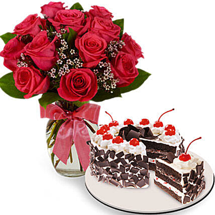 Irresistible Cake And Rose Combo:Send Birthday Cakes to Philippines