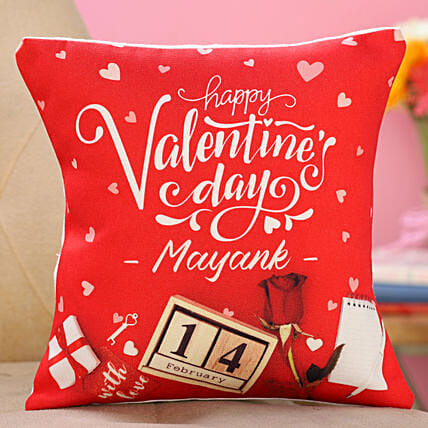 valentine day printed cushion for him