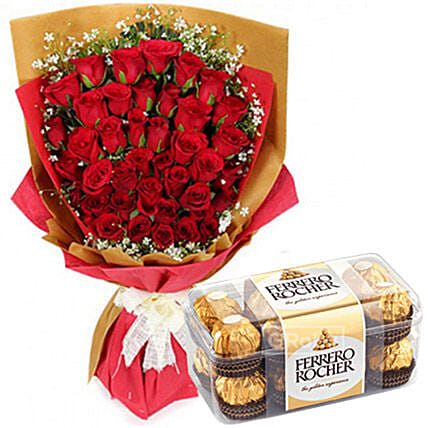 Romantic Chocolates And Rose Bouquet:Send Anniversary Gifts to Philippines