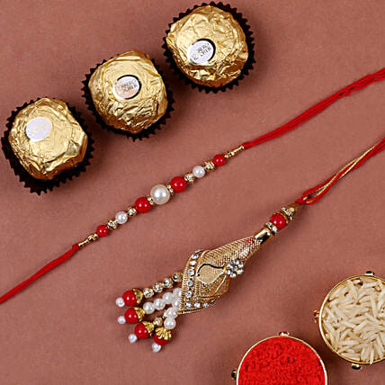 Red Fancy Bhaiya Bhabhi Rakhi And 3 Pcs Ferrero Rocher