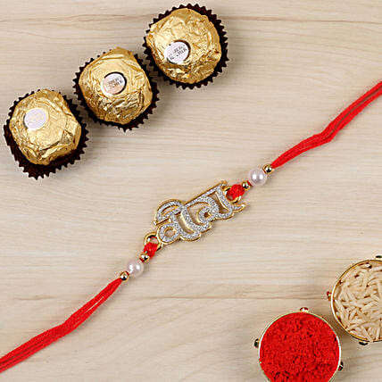 Glittered Veera Hindi Rakhi And 3 Pcs Ferrero Rocher