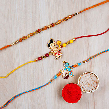 Set Of Pearl Thread Rakhi And 2 Kids Rakhis