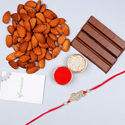 Veera Rakhi With Almonds And Kitkat Chocolate
