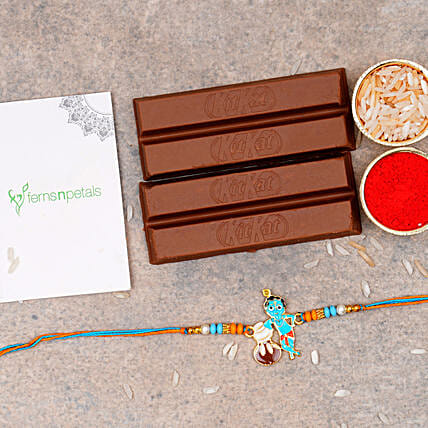 Adorable Bal Krishna Kids Rakhi And 2 Kitkat Chocolates