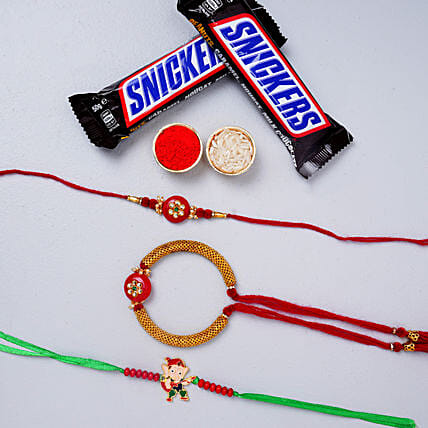 Bhai Bhabhi Rakhi With Kids Rakhi And Snickers