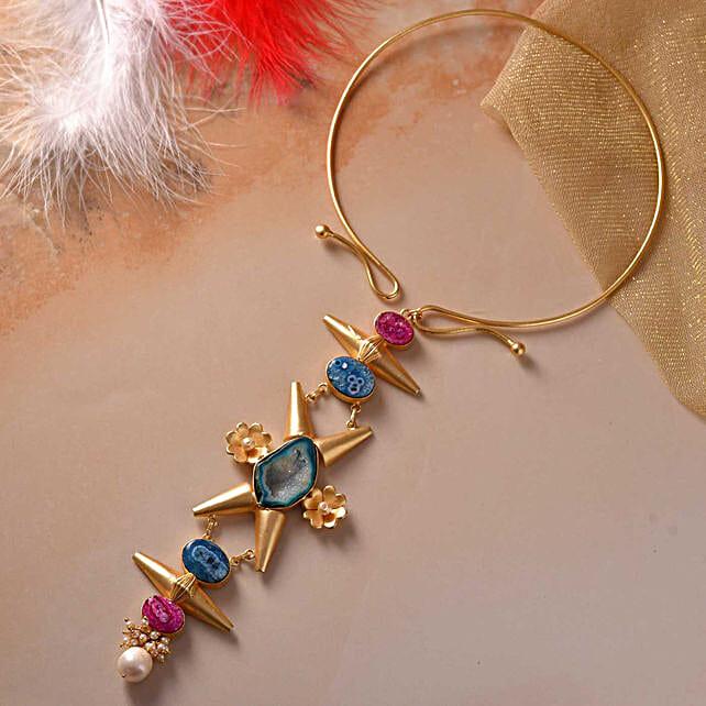 Agate Oval Shaped Gold Polished Earrings