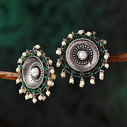 Ethnic Silver Oxidised Earrings:Karwa Chauth Gifts Philippines
