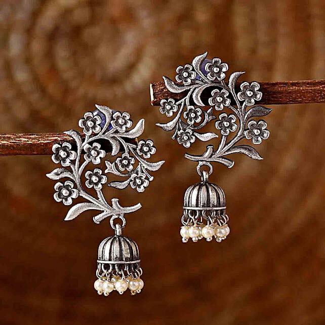 Floral Bliss Silver Oxidised Earrings