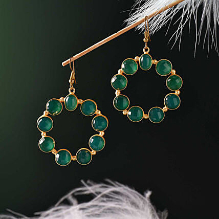 Green Onyx Gold Polished Earrings:Send Karwa Chauth Gifts to Philippines