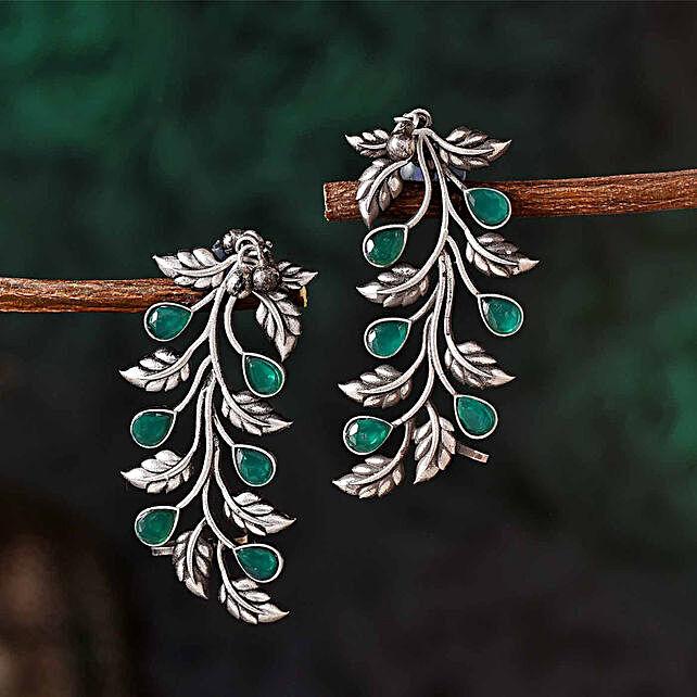 Green Stone Leafy Silver Oxidised Earrings