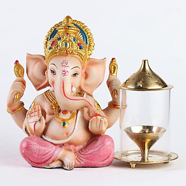Pink Ganesha Diya And Glass Akhand Jyoti Diya