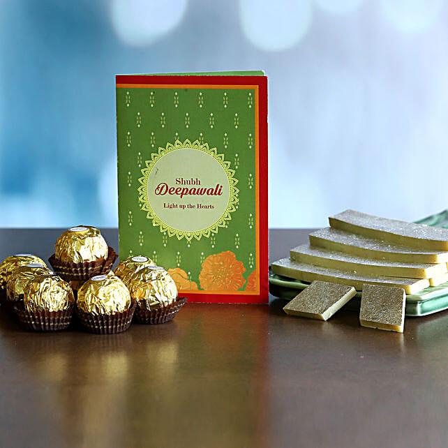 Kaju Katli And Chocolates With Diwali Greetings