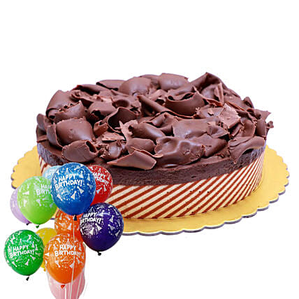 Chocolate Mousse Cake & Balloons Combo
