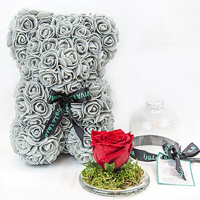 Cute Grey Teddy Bear With Rose