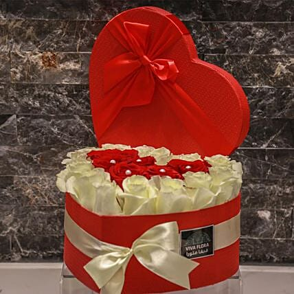 Hearty Red And White Roses In Red Box