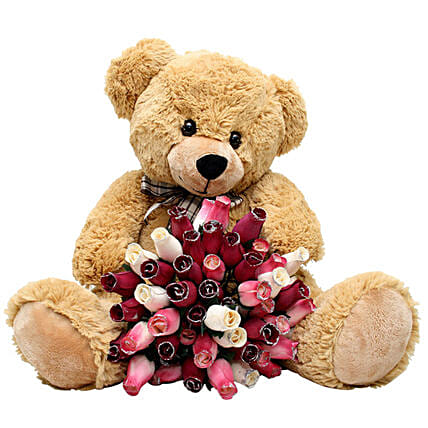 Mixed Roses And Large Teddy Combo
