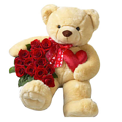 Red Roses And Medium Teddy Combo