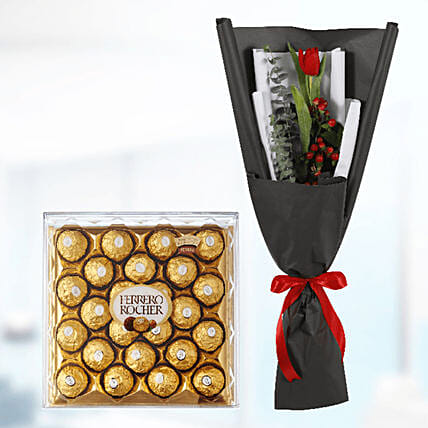 tulip with chocolate box surprise online:Send Birthday Gifts to Qatar