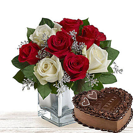 Sweet Treat With Flowers:Flower and Cake Delivery in Qatar