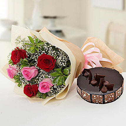 Beautiful Roses Bouquet With Chocolate Cake:Flower and Cake Delivery in Qatar
