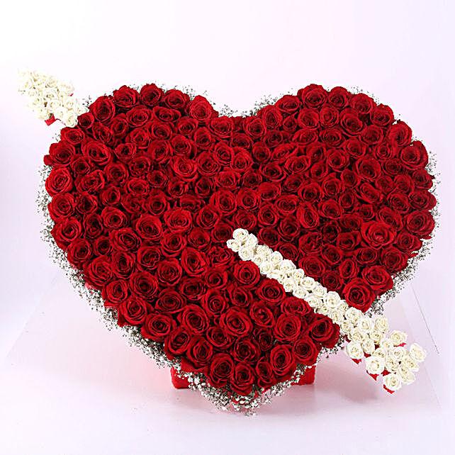 cupid heart arrow roses arrangement online