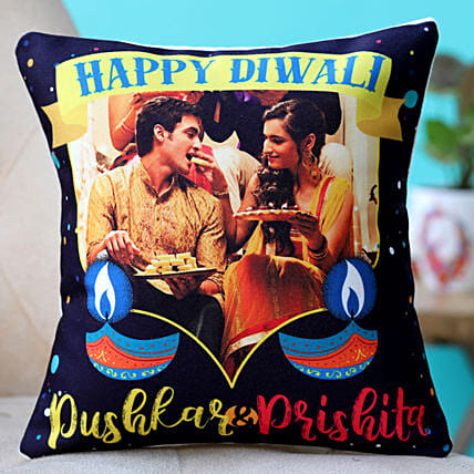 personalised happy diwali cushion for couple