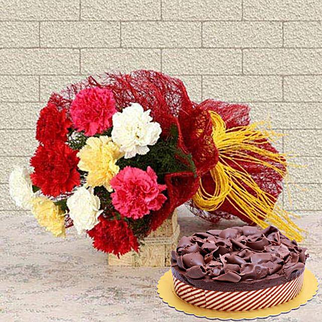 Beautiful Carnations & Choco Mousse Cake