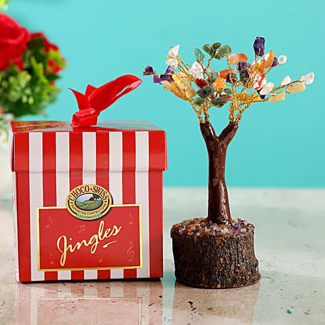 Colourful Stone Wish Tree & Choco Swiss Jingles Box