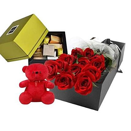 Red Roses Teddy N Chocolates