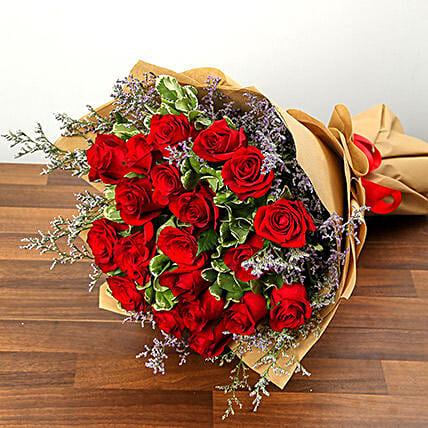 Stylish 20 Red Roses Bunch:Send Flower Bouquets to Saudi Arabia