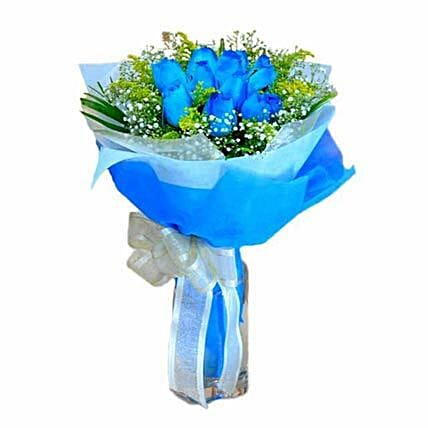 10 Blue Roses Hand Bouquet:Send Miss You Flowers to Singapore