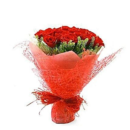 18 ruby red roses