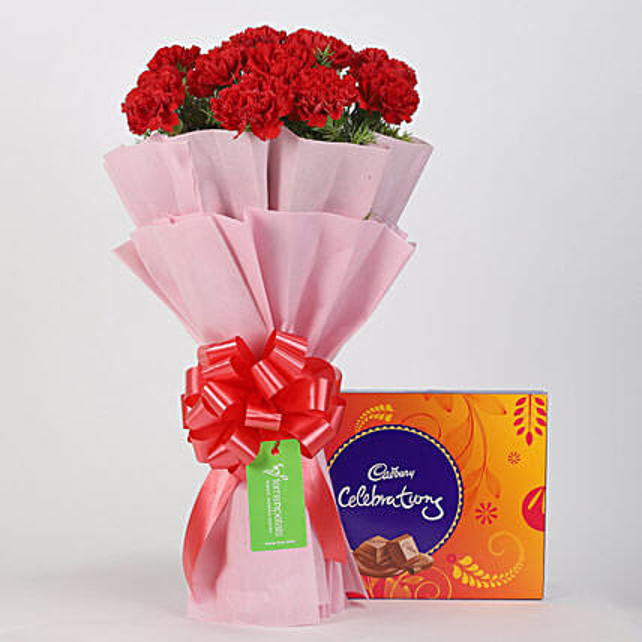 20 Beautiful Red Carnations & Cadbury Celebrations