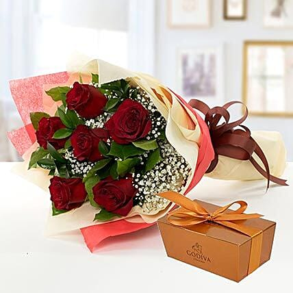 6 Red Roses and Godiva Chocolate Combo:All Gifts