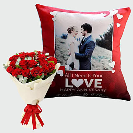Adorable Roses and Personalised Cushion Combo:Send Cushion to Singapore