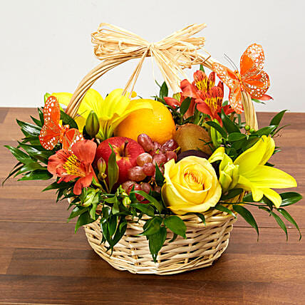 Basket Arrangement Of Fresh Flowers And Fruits