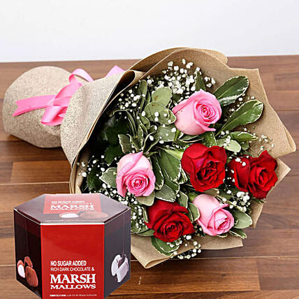 Beautiful Roses And Marshmallow Chocolates