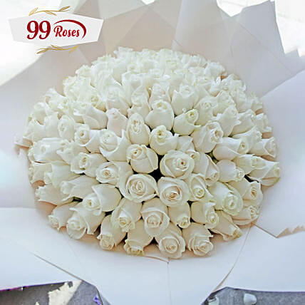 Bright White Roses Bouquet For Love