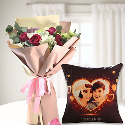 Calm & Composed Flower Love Bouquet with Personalised Cushion