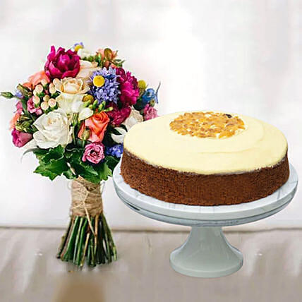 Carrot Cake & Impressive Flower Bunch:Valentine's Day Cake Delivery in Singapore