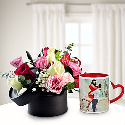Colourful Floral Bunch In Box with Personalised Mug
