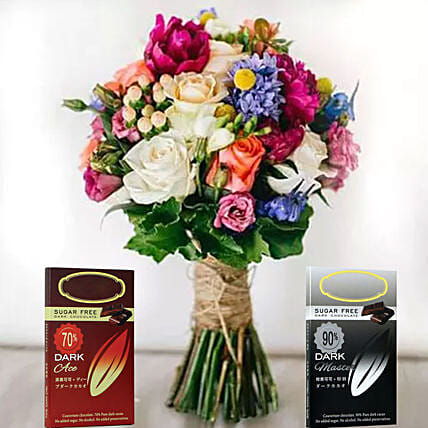 Colourful Flower Bunch And Chocolates